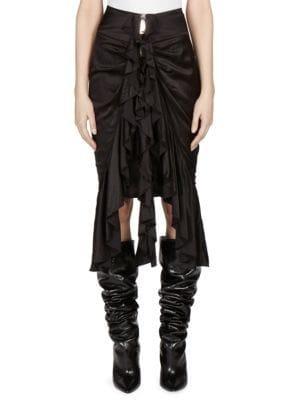 Silk Zip Front Skirt