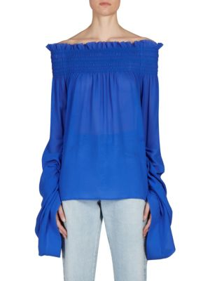 Shirred Off-The-Shoulder Blouse