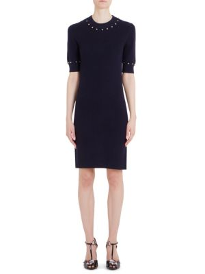 Short Sleeve Knit Wool Sheath Dress