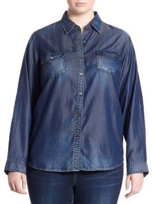 Plus Western Long-Sleeve Shirt