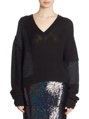 Patched Long Sleeve Knitted Sweater
