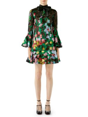 Flare Cuff Silk Organza Floral Dress