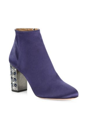 So Me Embellished Heel Satin Booties