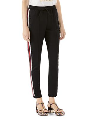 Crystal-Stripe Jersey Jogger Pants