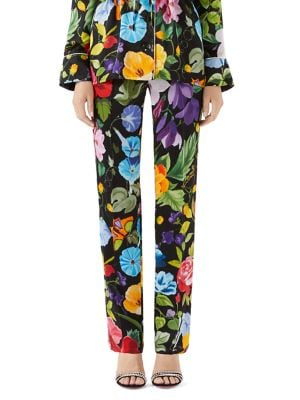 Crepe de Chine Tie-Waist Pajama Pants