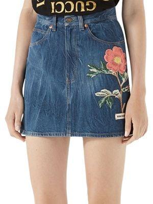 Floral-Embroidered Denim Mini Skirt
