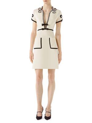 Crystal-Trim Jersey V-Neck Dress