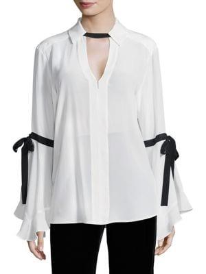 Marie Silk Bell-Sleeve Blouse