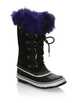 Suede Boots with Faux Fur
