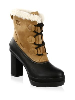 Leather Boots with Faux Fur