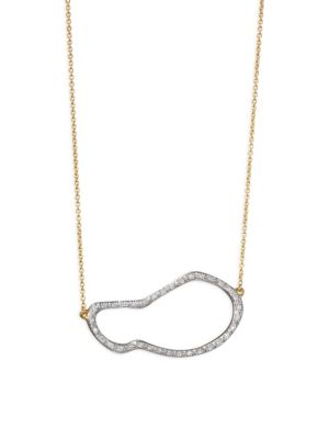 Riva Small Diamond Pod Pendant Necklace/Goldtone