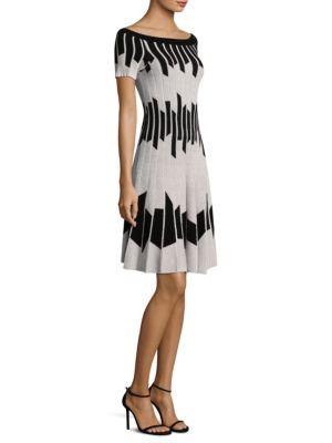 Pleated Geometric Dress