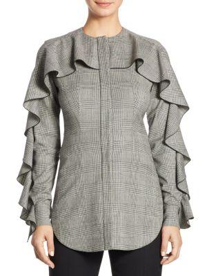Ruffled Wool Blouse by Sara Battaglia