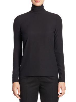 Solid Wool Turtleneck Shirt by Sara Battaglia