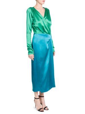 Two-Tone Satin Robe Dress