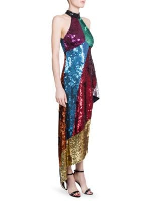 Asymmetrical Sequined Halter Dress