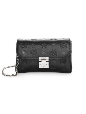 MILLIE BLACK MONOGRAMMED LEATHER SMALL FLAP CROSSBODY BAG