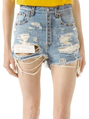 Shredded Bleached Denim Shorts