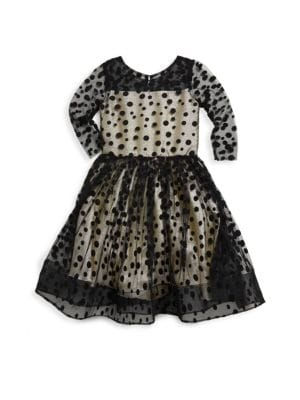 Girl's Audrey Dots and Gold Party Dress