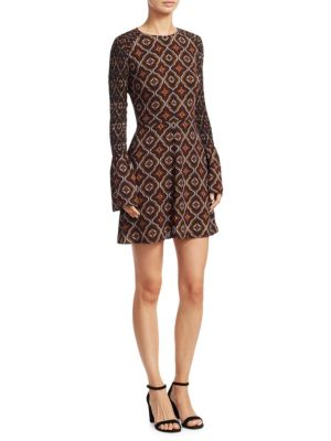 Alexa Printed Bell Sleeve Silk Dress