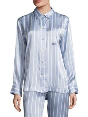Striped Silk Pajama Top