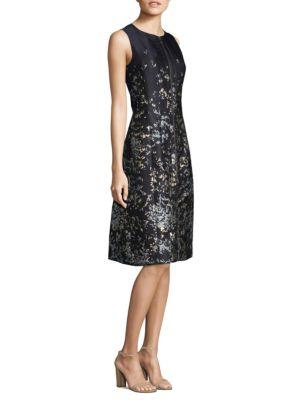Brocade Zip Knee-Length Dress