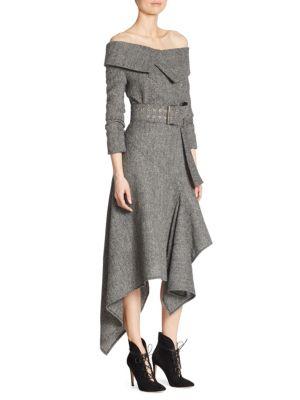 Off-The-Shoulder Wool Dress