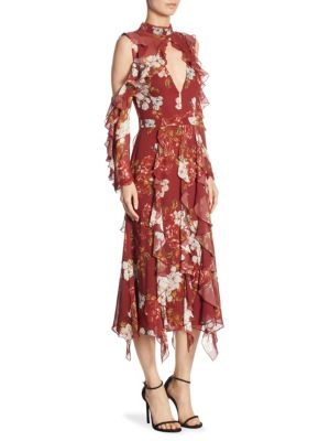 Celeste Vertical Ruffle Silk Maxi Dress