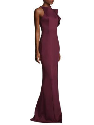 Pabla Front High Slit Floor-Length Sheath Gown