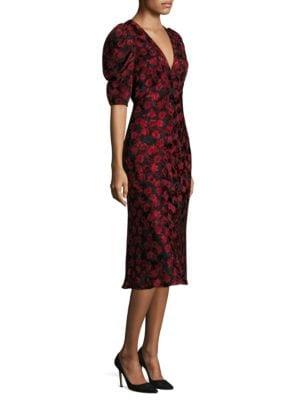 Colette Floral Silk Midi Dress
