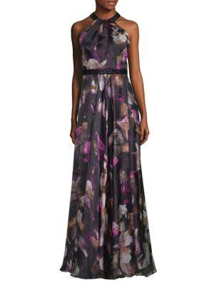Floral Halter Neck Floor-Length Gown