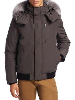 Bomber Fox Fur-Trim Coat