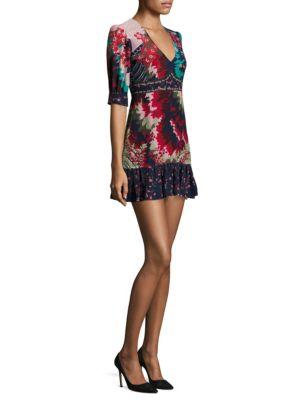 Printed Deep V-Neck Silk Mini Dress