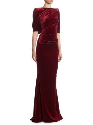 Ruched Velvet Gown