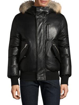 Gable-S Fur-Trim Leather Bomber Jacket