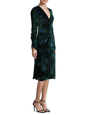 SHIRRED FLORAL VELVET DRESS
