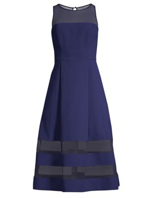 Crepe Mesh Fit-And-Flare Dress