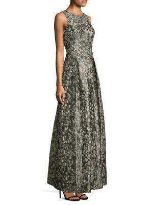 Sleeveless Bodice Brocade Gown
