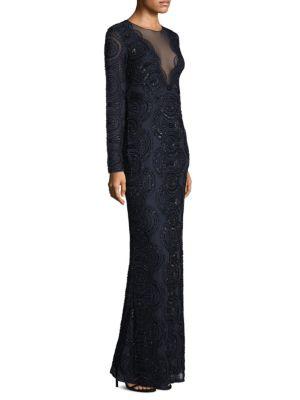 Long Sleeve Beaded Long Dress