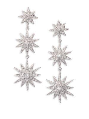 Diamond & 18K White Gold Starburst Drop Earrings