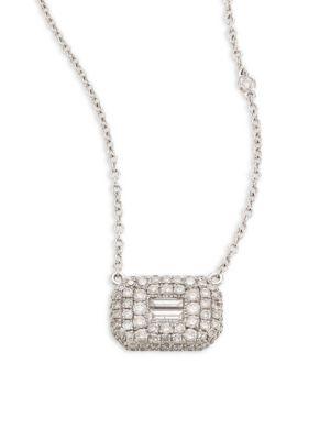 EssentialsBaguette Diamond & 18K White Gold Pendant Necklace