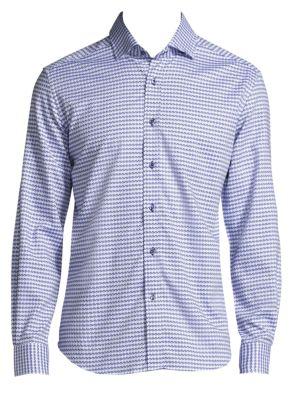 Textured Cotton Casual Button-Down Shirt