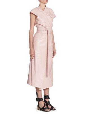 Asymmetric Leather Wrap Dress