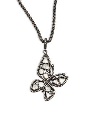 NINA GILIN Diamond Butterfly Pendant Necklace