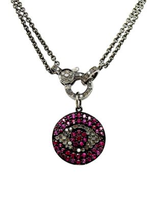 NINA GILIN Diamond & Ruby Evil Eye Pendant Necklace