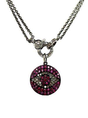 Diamond & Ruby Evil Eye Pendant Necklace