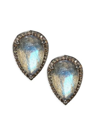 Diamond & Labradorite Stud Earrings