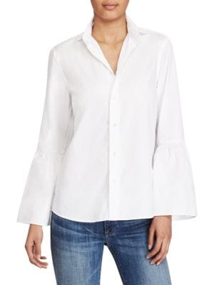 Bell-Sleeve Cotton Broadcloth Shirt