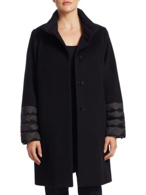 Quilted Stand Collar Wool Coat by Cinzia Rocca, Plus Size