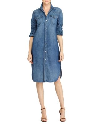 Faded Cotton Denim Shirtdress